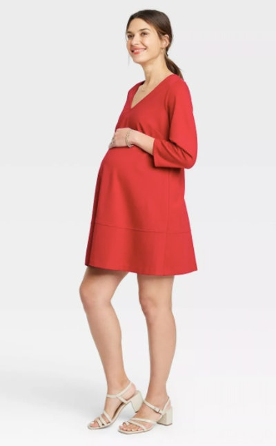 3/4 Sleeve Fit & Flare Ponte Maternity Dress Red