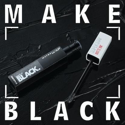Maybelline Super Stay Matte Ink Lipstick in a dark black for Make It BLACK