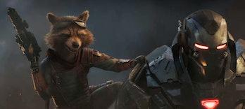 Rocket Raccoon and War Machine in Avengers: Endgame