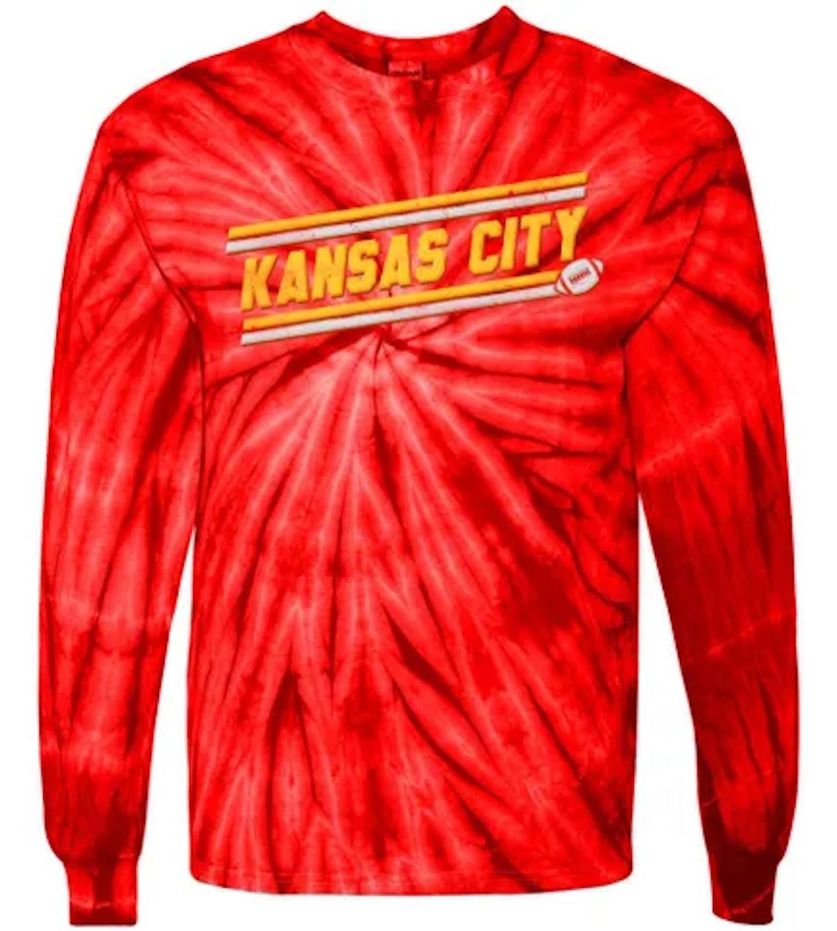 Tee Shirt Palace Vintage Kansas City Football Tie-Dye Long Sleeve Shirt