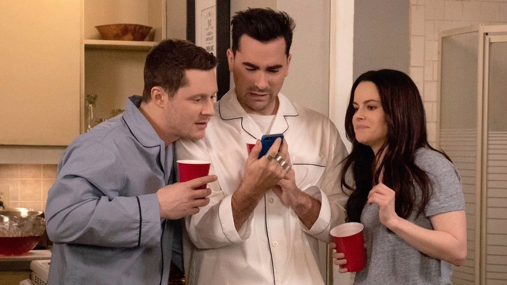 Patrick, David, and Stevie at a pajama party on 'Schitt's Creek'