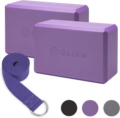 Gaiam Essentials Yoga Block & Yoga Strap Set (2-Pack)