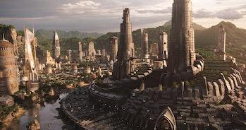 Wakanda's majestic skyline in 'Black Panther.'