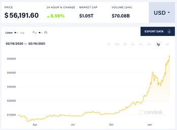 The price of bitcoin surpassed $1 trillion on Friday.