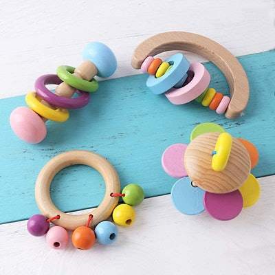 Promise Babe 4pc Organic Toddler Wooden Toys