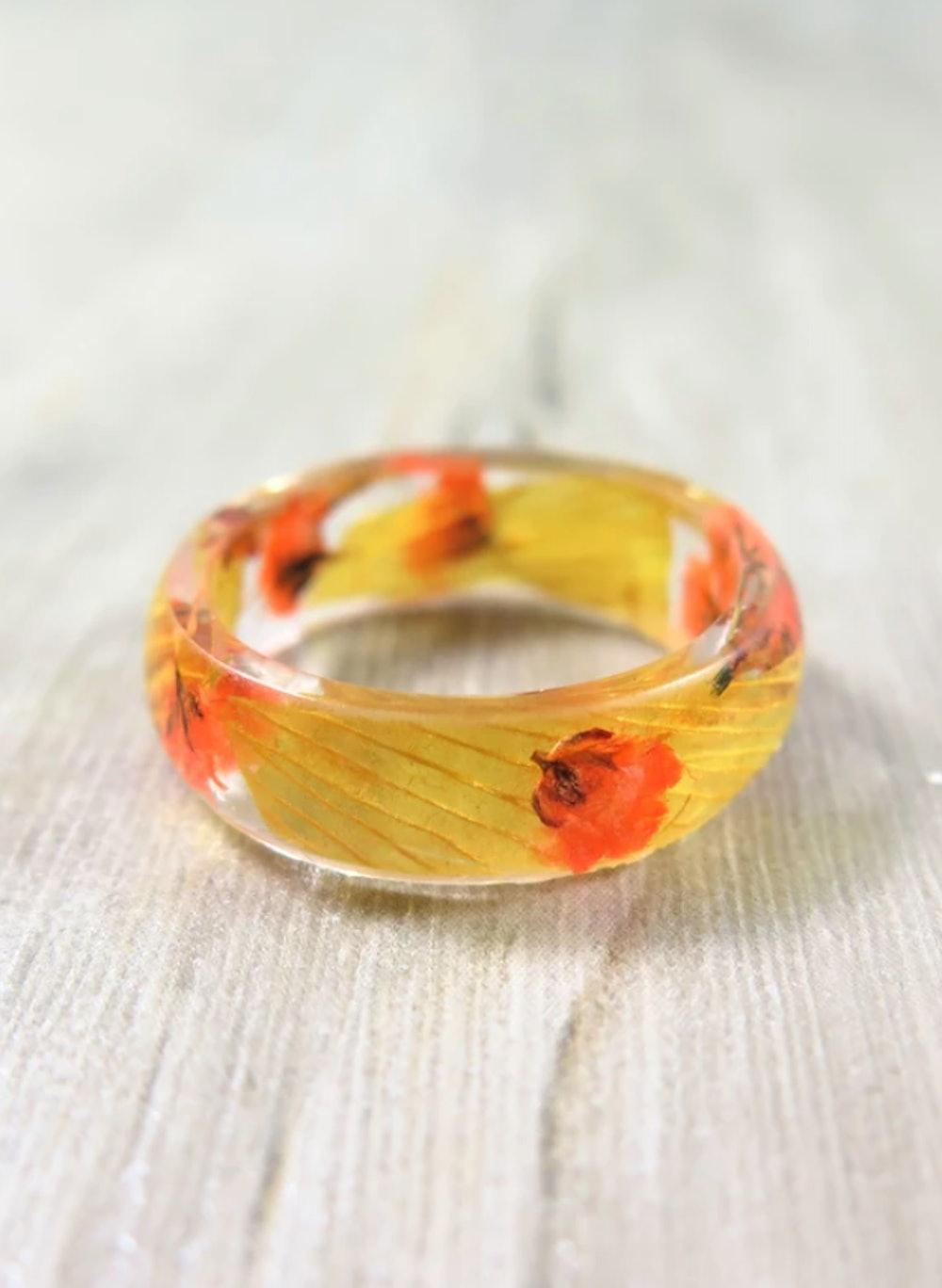 Autumn Flower Ring Real Flower Resin Ring