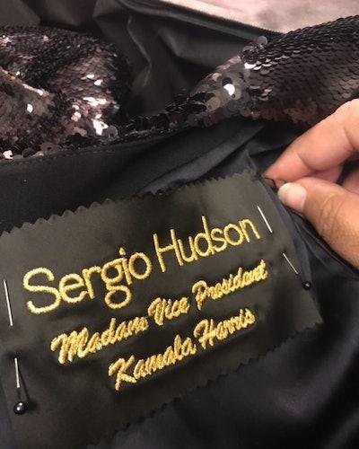 Sergio Hudson making Kamala Harris' Inauguration Gown