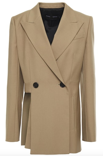 Double-Breasted Cutout Wool-Blend Twill Blazer