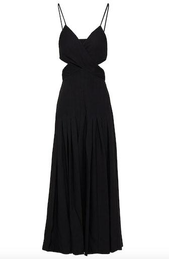 Cutout Pleated Crepe Maxi Dress