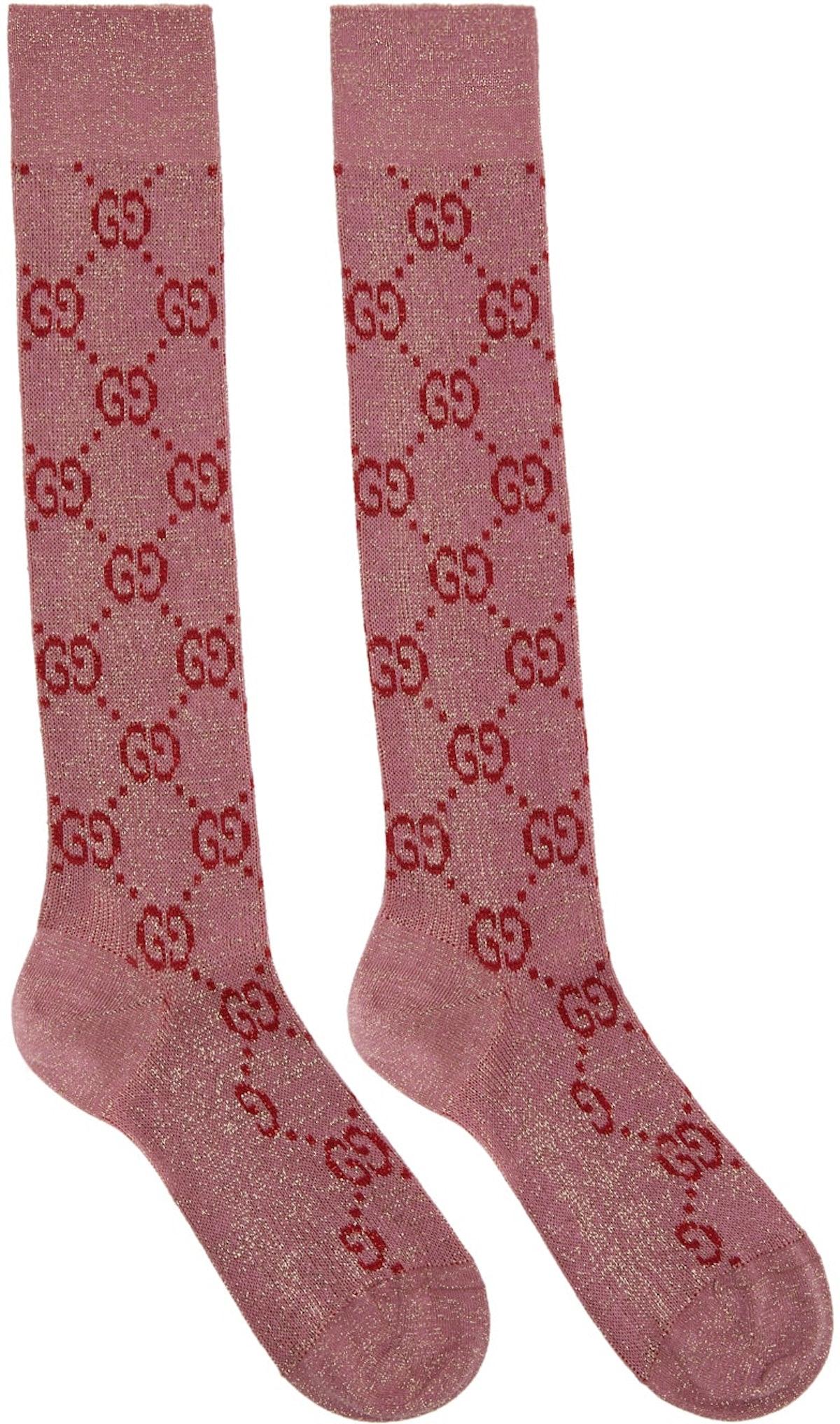 Pink & Red Lamé GG Socks