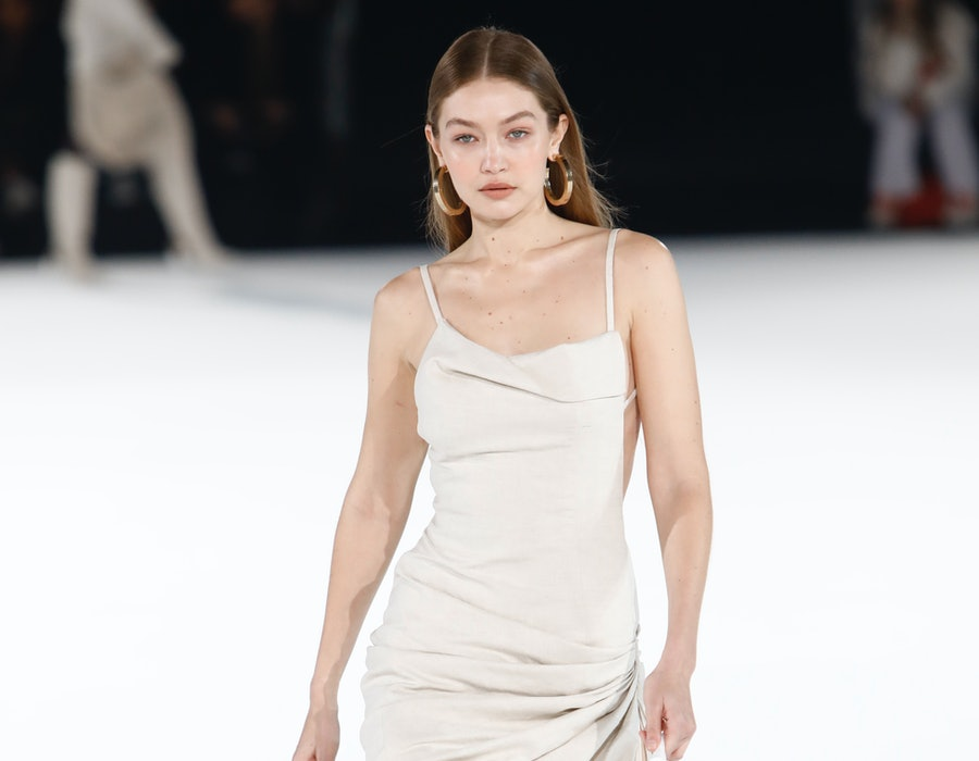 Gigi Hadid walks the runway during the Jacquemus Menswear Fall/Winter 2020-2021 show as part of Paris Fashion Week on January 18, 2020 in Paris, France.