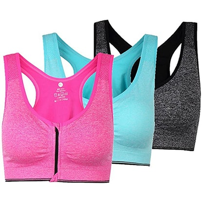 ohlyah Zipper Front Closure Sports Bra (3-Pack)