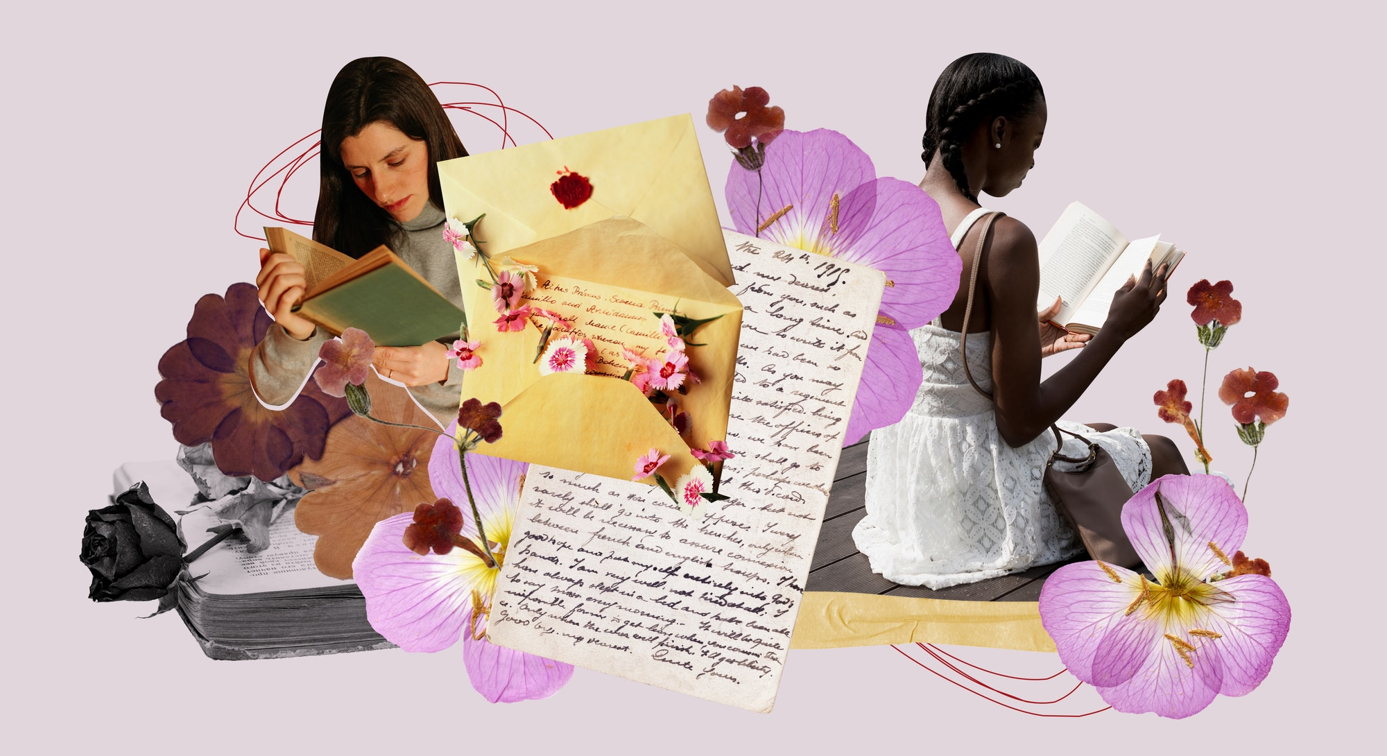 Romance novels, flowers, and love letters