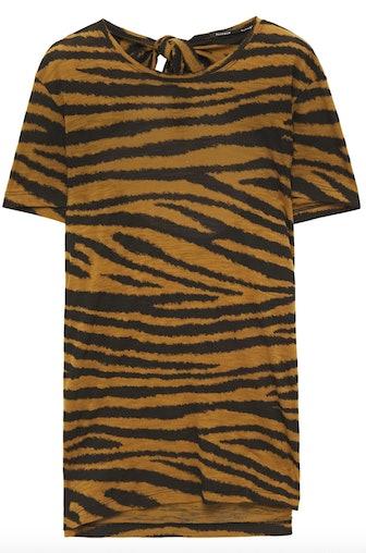 Cutout Tiger Print Slub Cotton Jersey T-shirt