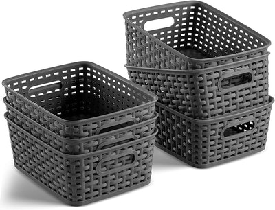 Seseno Plastic Storage Baskets (Set of 6)