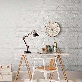 Balance White & Rose Gold Wallpaper