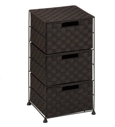 Steel Wire Rolling Cart with Woven Fabric Drawers