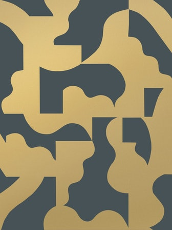 Mixed Signals Wallpaper - Gold on Charcoal
