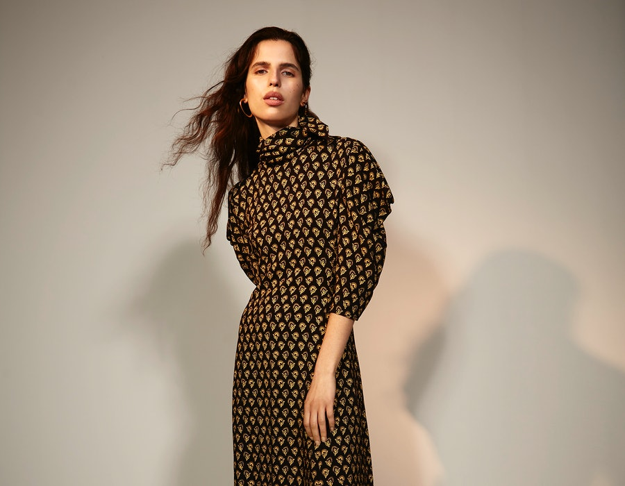 Model appears in dress from The Outnet x Proenza Schouler capsule collection.