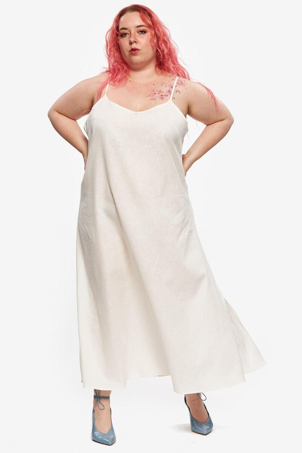 """""""Oprah"""" Slip Dress White Linen"""