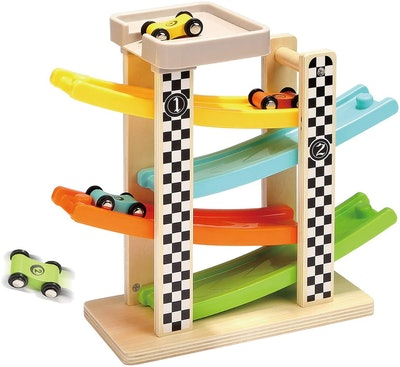 TOP BRIGHT  Wooden Race Track Car Ramp Racer With 4 Mini Cars