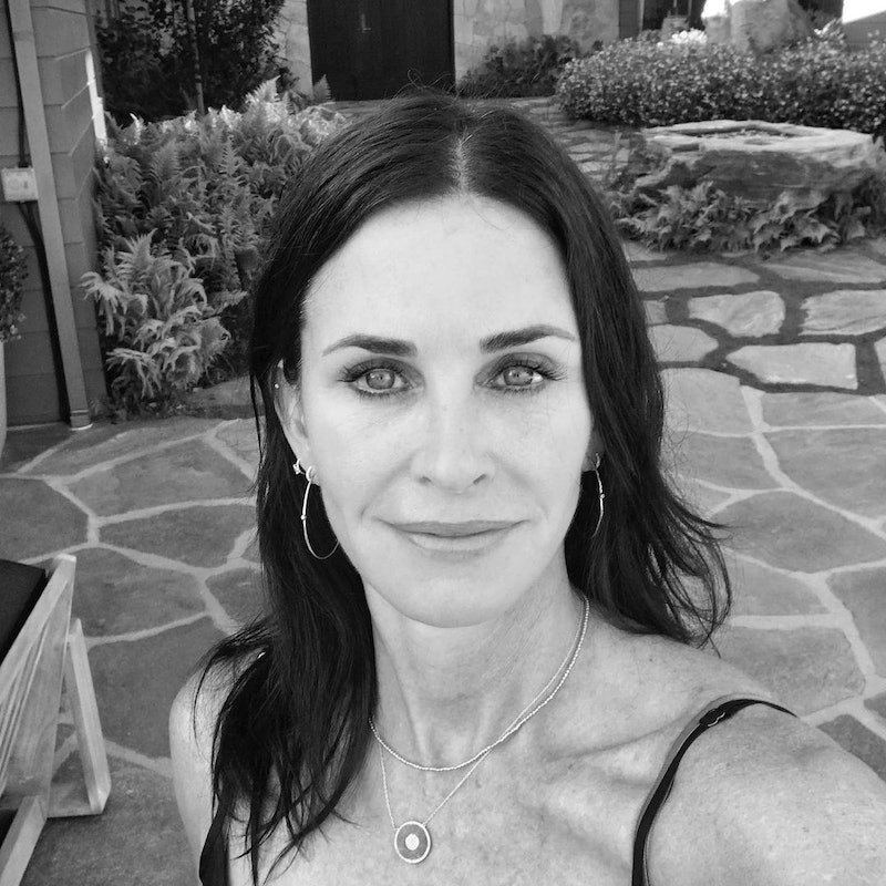 Courteney Cox makeup routine, products, and beauty tips.