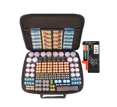 RIGICASE Large Battery Organizer and Digital Battery Tester