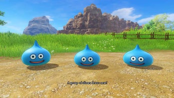 A gaggle of slimes approach in Dragon Quest XI.