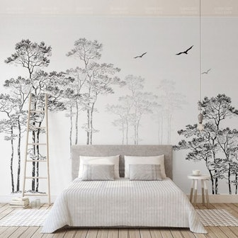 Whole Pine Tree Wall Decor for Guest Room Flying Bird Wall Mural