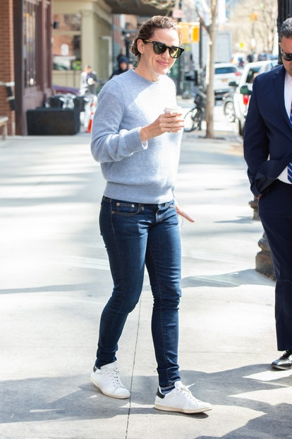 Jennifer Garner leaves a coffee shop on April 10, 2019 in New York City.
