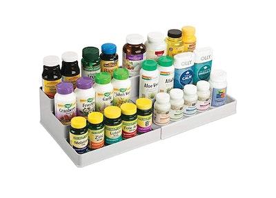 mDesign Expandable Plastic Vitamin Rack Storage Organizer