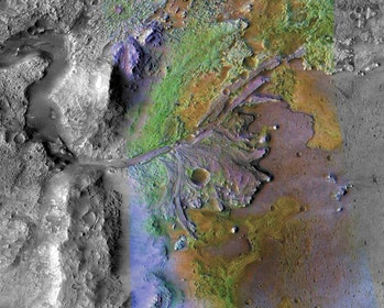 A satellite view of Jezero Crater showing river channels spilling into it.