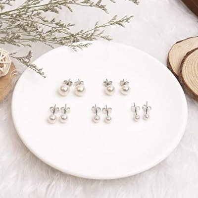 UHIBROS Surgical Stainless Steel Earrings (5 Pairs)