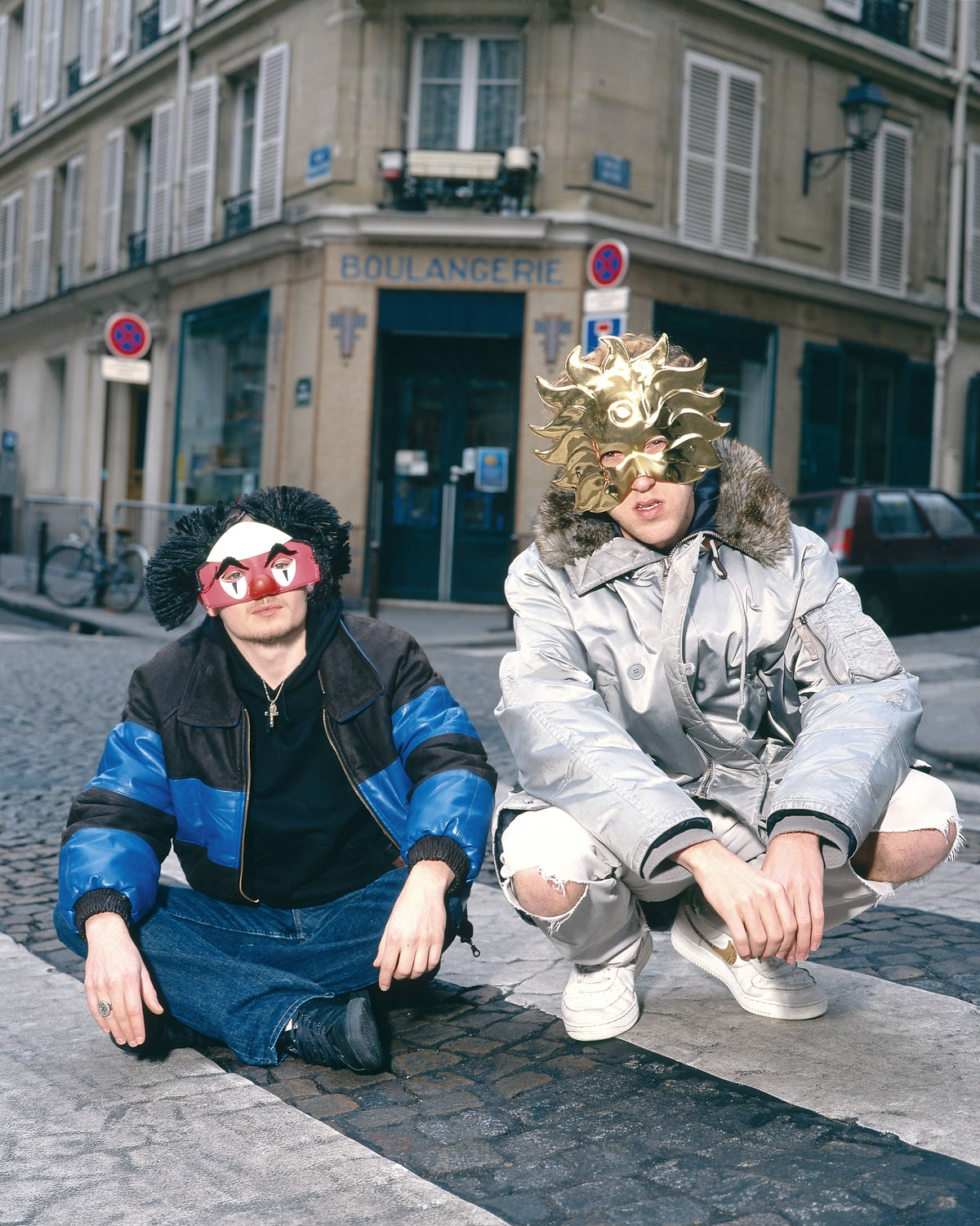 Early photo of Daft Punk in masks.