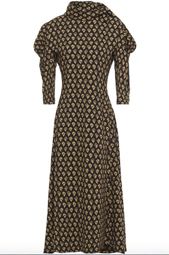 Tie-Neck Gathered Floral Print Midi Dress