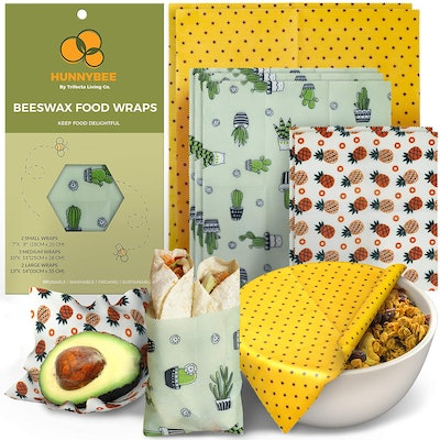 HUNNYBEE Reusable Beeswax Food Wrap (7 Pack)