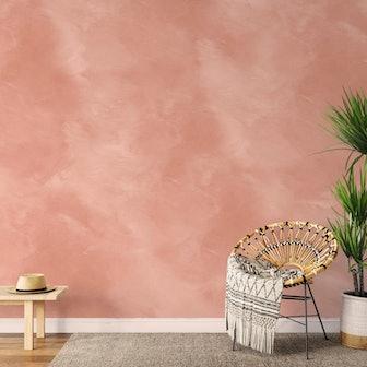 Angelina Minimalist Warm Peach Bohemian Wallpaper