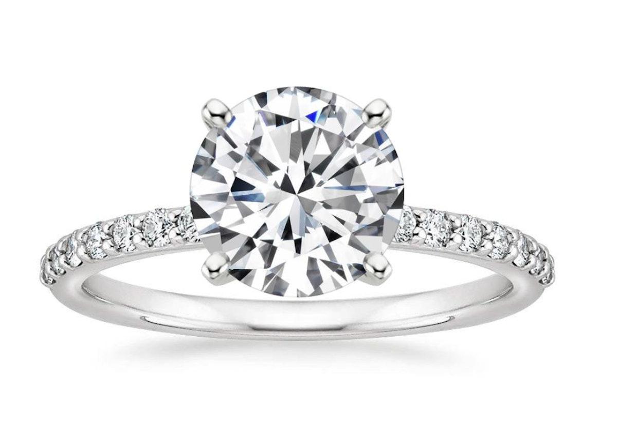 Petite Shared Prong Diamond Engagement Ring