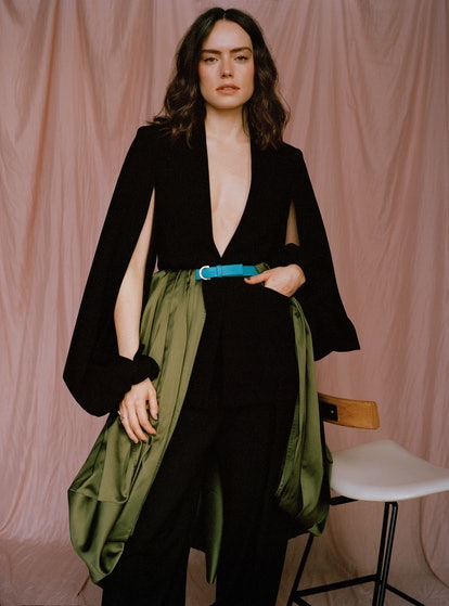 Daisy Ridley wearing JW Anderson clothing and belt, Shape of Sound ring for TZR Spring 2021 cover shoot.