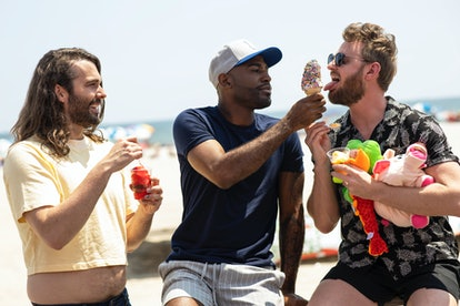 Jonathan Van Ness, Karamo Brown, and Bobby Berk share a moment while filming 'Queer Eye.' Photo via Netflix