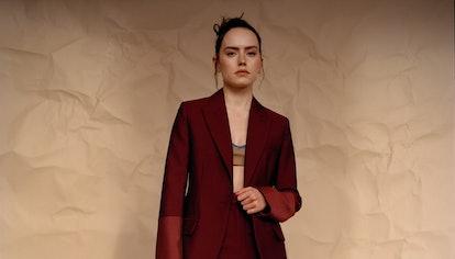 Daisy Ridley in Roksanda jacket, pants, and boots, Emilia Wickstead bralette, Araks bra (worn under)...