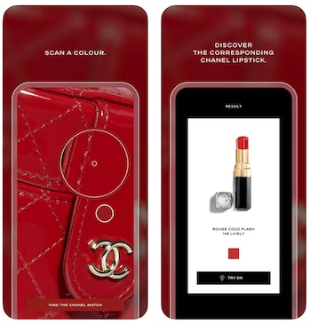 A screenshot of Chanel's Lipscanner app is shown here. The app lets you scan a color and find a corresponding shade in Chanel's product line.