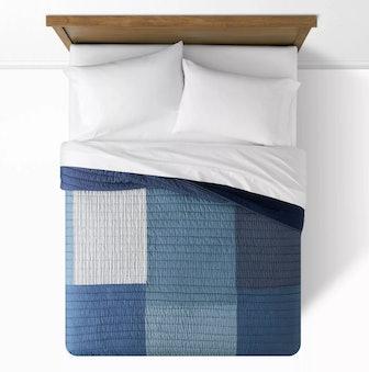 Cotton Patchwork Quilt Blue