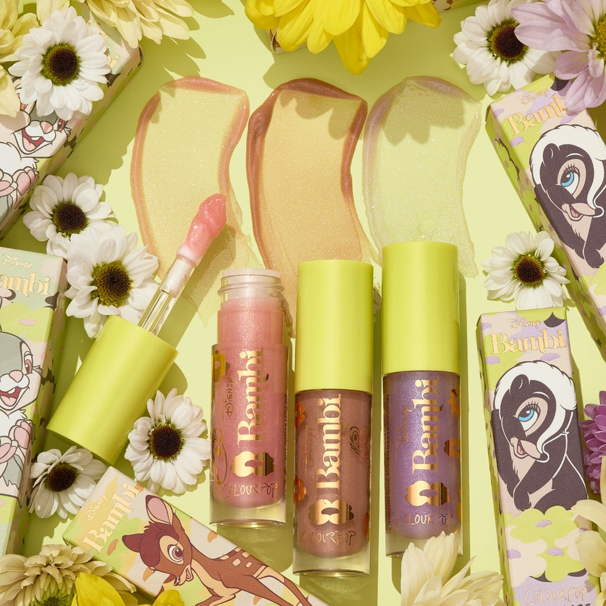 """The Disney """"Bambi"""" x ColourPop Lux Glosses in Thumper, Bambi, and Flower."""