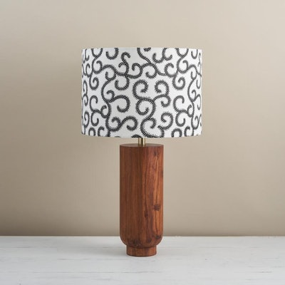 African Wax Print Drum Lampshade - Black & White Swirls