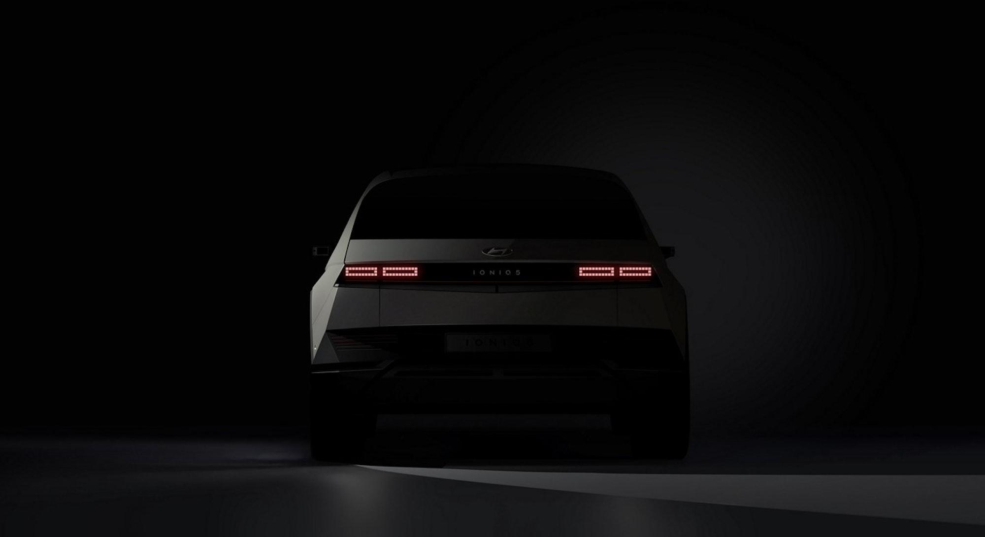 The tailgate of Hyundai's all-electric SUV, the Ioniq 5.