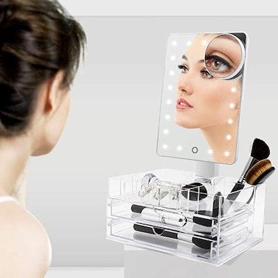 Funtouch Mirror with Acrylic Makeup Organizer