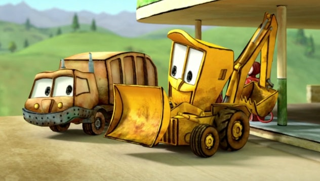 'The Stinky & Dirty Show' is about a garbage truck and a digger who are friends.