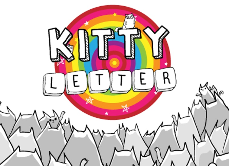 An illustrated logo for Kitty Letter featuring greyscale cats looking at a rainbow vortex with the title in the middle