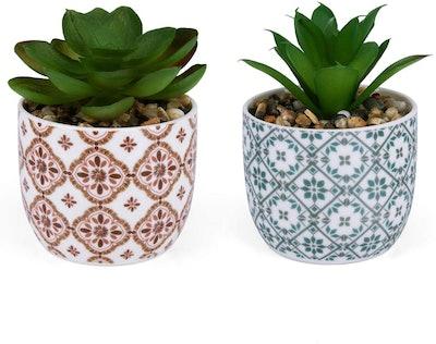 Karlliu Artificial Plants Mini Succulent Set (Set Of 2)
